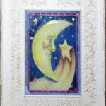 "This moon was created with colored pencil on copper and sealed in epoxy resin 5""x7"""